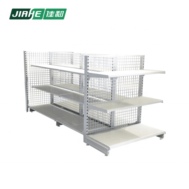 Steel Double-sided Mesh Panel Store Fixture and Multiple Levers Gondola Shelving