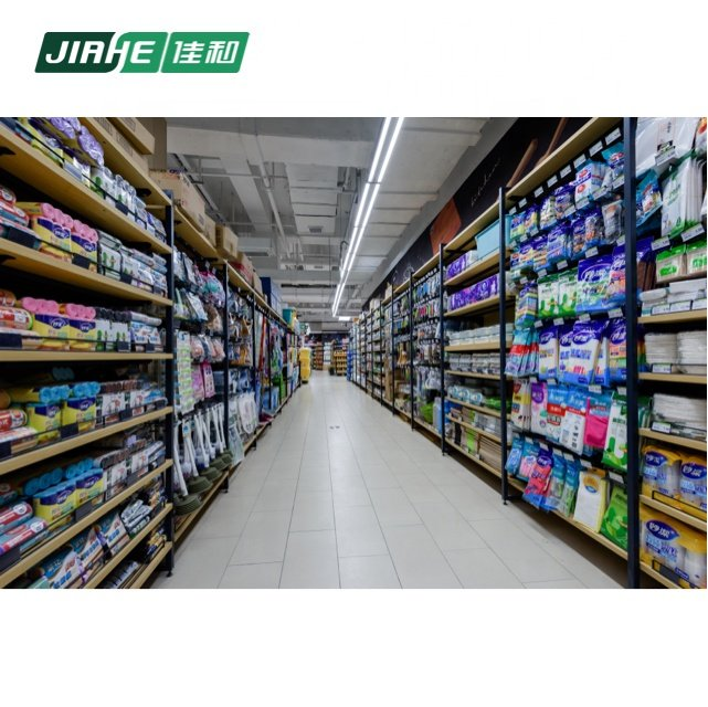 High Quality Supermarket Shelf Wire Mesh Shelving Wood and Steel Shelves for Supermarket
