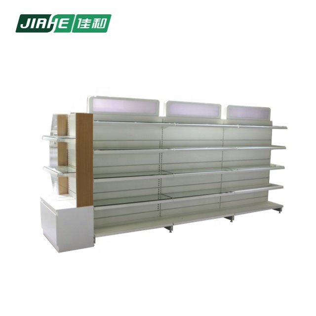 Cosmetic display black gondola shelving stand store supermarket supplies and iron shelf for Supermarket