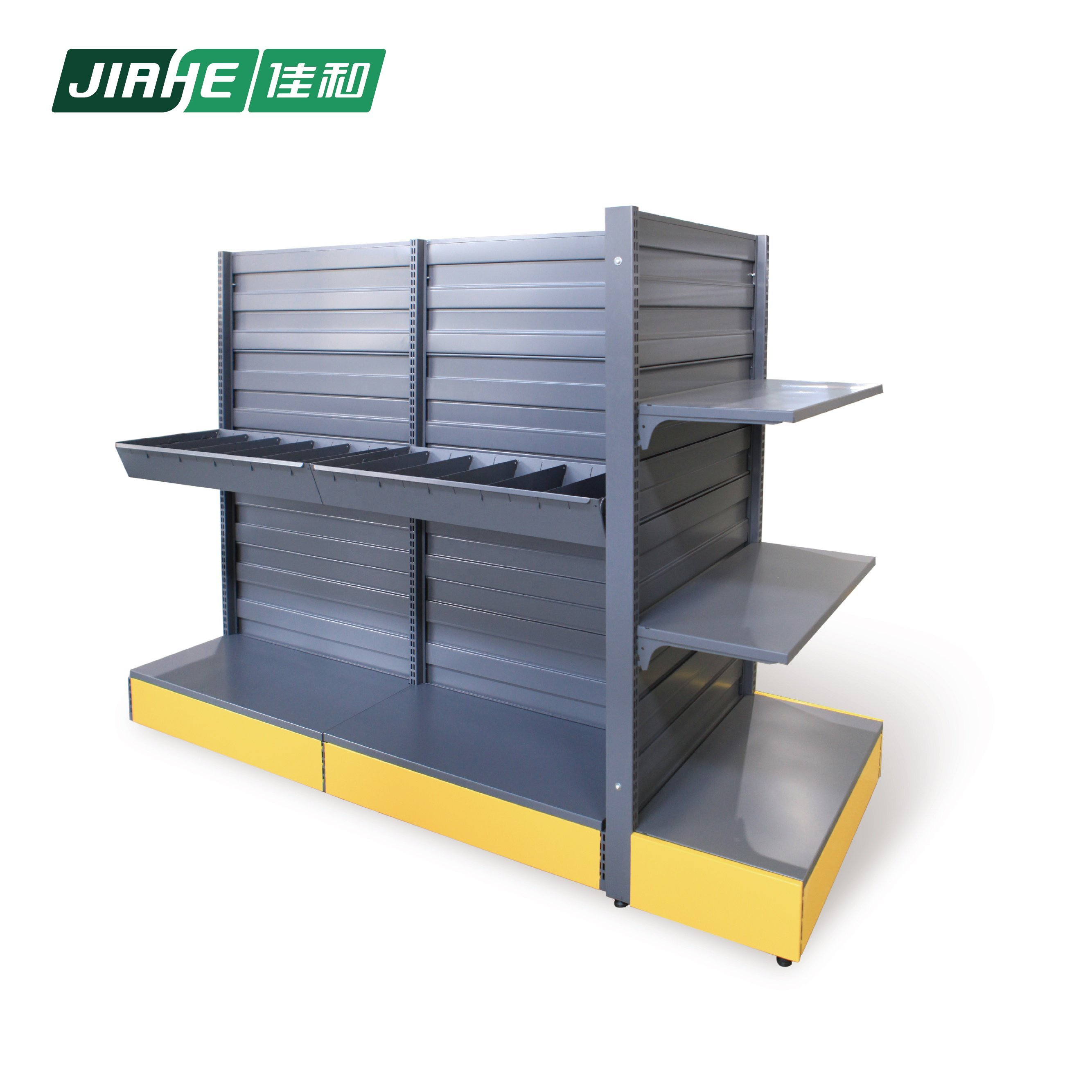 Screw display racks double sides with end cap storage shelf for supermarket