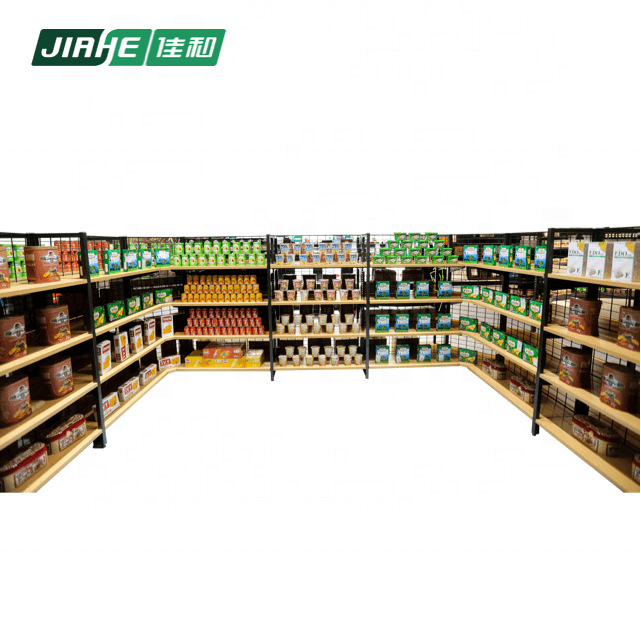 New design store fixture wall shelving metal and wooden shelf for supermarket